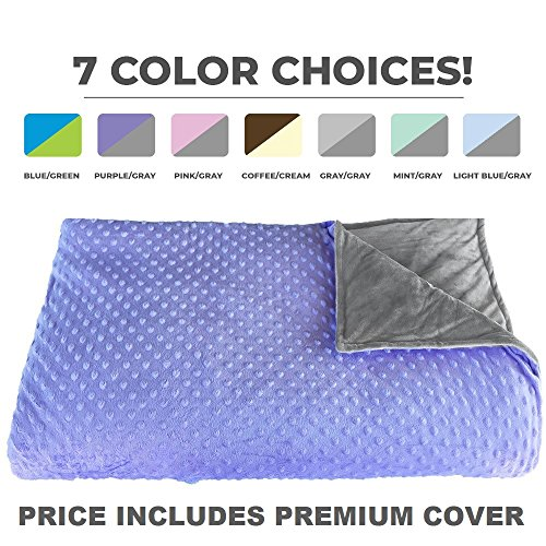 """Premium Weighted Blanket, Perfect Size 60"""" x 80"""" and Weight(12lb) for Adults and Children. Deluxe CALMFORTER Blanket Relieves Anxiety, Stress, Agitation, Insomnia. Price Includes Cover!"""
