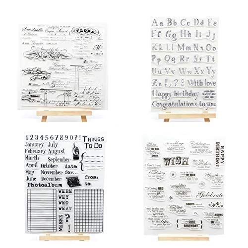 Welcome to Joyful Home 4pcs/Set Alphabet Months Wish Sentiment Rubber Clear Stamp for Card Making Decoration and Scrapbooking ()