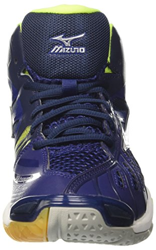 Mid de Wave Volleyball Tornado Bluedepths Chaussures Homme Mizuno White Safetyyellow Multicolore wTqP66