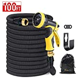 HOUSE DAY Expandable Garden Water Hose with 9-Way Spray Nozzle, Solid Brass Connectors,Heavy Duty Magic Water Hose,(100FT,Black),Hose Hanger