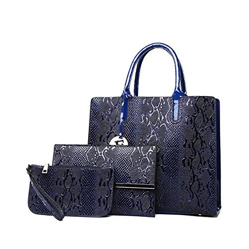 Tisdaini Mujer bolso de mano PU piel moda 3pcs set bolso bandolera+bolsos de+billetera Azul