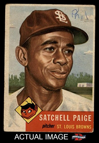 1953 Topps # 220 Satchel Paige St. Louis Browns (Baseball Card) Dean's Cards 2 - GOOD Browns - Louis Browns Baseball Card