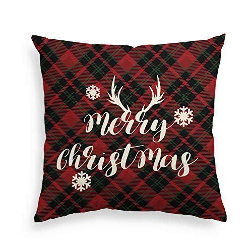 Artoid Merry Christmas Holiday Red and Black Buffalo Check Plaid Snowflake Linen Decorative Throw Pillow Cover Case | Invisible Zipper, 18 x 18 Inch Cushion Protector for Sofa Couch Living Room ()