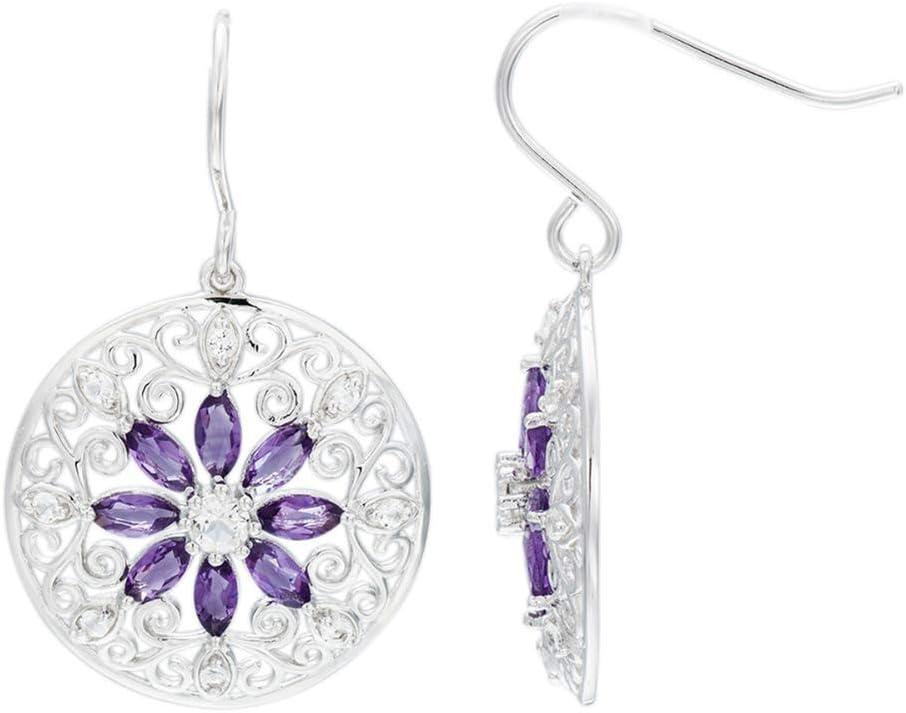 D&XQX - Pendientes de filigrana con diseño de flor topacio blanco amatista natural plata maciza 925 de ley joyas de piedra para mujer