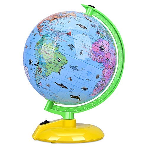 Illuminated World Globe for Kids, 8'' Desktop Globe LED Night Light with Stand, Colorful, Easy-Read, Battery Operation, Globe Map Learning Tool Educational Gift for Student by DIPPER