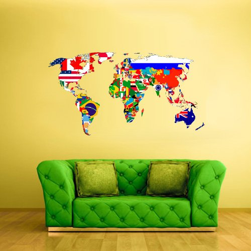 Full Color Wall Decal Mural Sticker Decor Art World Map Banners Flag Countries Paintings New Version - Full Colour Banner Vinyl