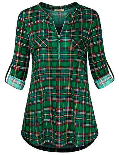 Baikea Flowy Blouse, Ladies Notch Neck 3/4 Sleeve Tunics for Women to Wear with Leggings Curved Hem Button Tabs Fake Pockets Slim Fit Chic Henley Tops Dark Green Plaid M
