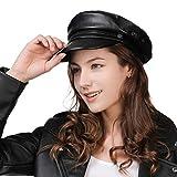 Womens Newsboy Cap Baker Berets Fisherman Conductor Greek Hat Sailor Fiddler Winter PU Leather Casual Fashion Cancer Satin Amazon Black