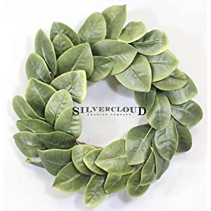 """Silvercloud Trading Co. [New] All Leaf Magnolia Wreath - 20"""" - Adjustable Stems - Willow Backing - Timeless Farmhouse Decor - Wedding Centerpiece 91"""