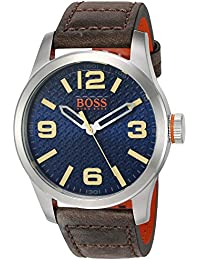BOSS Orange Mens PARIS Quartz Stainless Steel and Beige Leather Casual Watch (Model. Hugo Boss