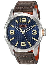 """Hugo Boss - """"Paris"""" Reloj casual de cuarzo para hombre, acero inoxidable y cuero beige, color naranja (Modelo: 1513352)"""