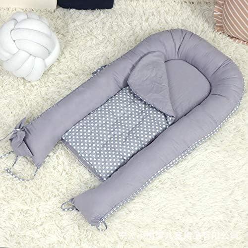 DSAEFG Nid de bébé Multifonctionnel, Lits de Couchage Moelleux Cuddle Pads Wrap 100% Coton pour bébé, Nouveau-nés et bébés. (Point Rond) ( Color : Noir )