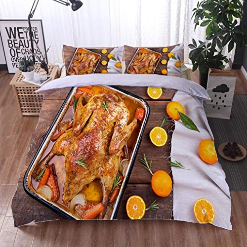 (bed comforter - 3-piece duvet -All Season , Roasted duck with vegetables citrus and rosemary Christmas festive table ,HypoallergenicDuvet-MachineWashable -Twin-Full-Queen-King-Home-Hotel -school)