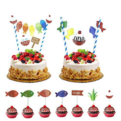 11 PCS The Big One Cake Topper,Gone Fishing Birthday Cupcake Toppers Ofishally One 1st Birthday Little Fisherman Cake Supplies Decoration]()