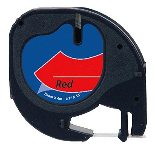 Prestige Cartridge 91203 Ruban pour Etiqueteuse Dymo LetraTag 12 mm x 4 m Noir sur Rouge