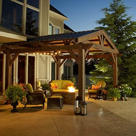 14' x 14' Douglas Fir Lodge Pergola in Mocha Finish with Green Metal Roof - Amazon.com: 14' X 14' Douglas Fir Lodge Pergola In Mocha Finish With