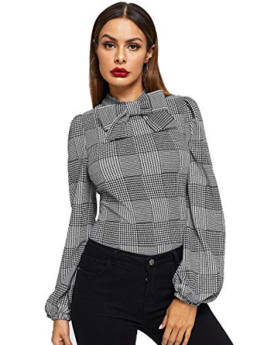 Romwe Women's Vintage Bow Tie Neck Embellished Balloon Bishop Sleeve Plaid Blouse Top Grey -