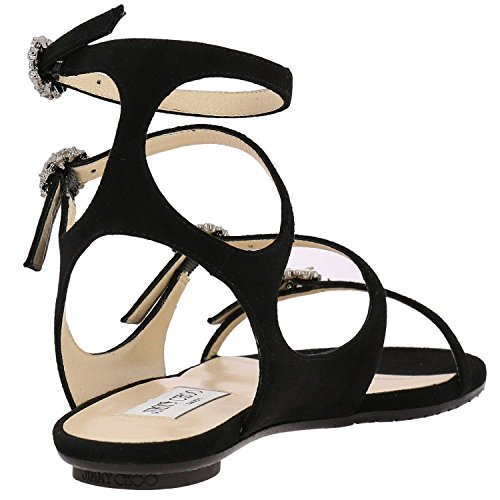 Jimmy Choo Women's NAIAFLATUCS Black Leather Sandals CYRLFCR