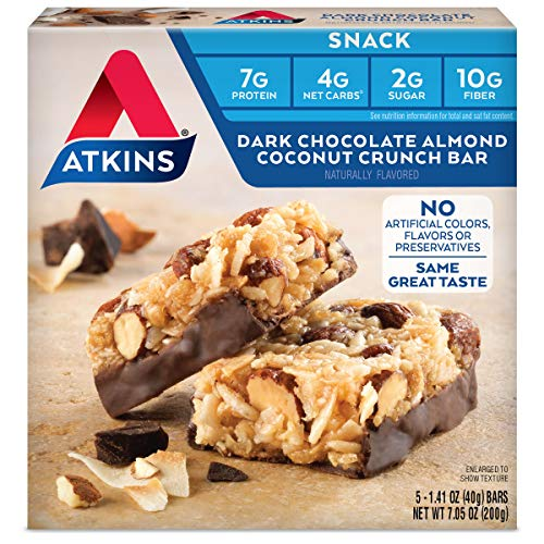 Atkins Snack Bar, Dark Chocolate Almond Coconut Crunch, 5 Count ()