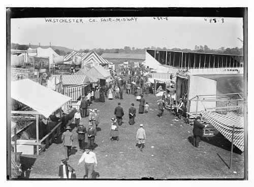HistoricalFindings Photo: Crowd,booths at Westchester County Fair, York,NY,Midway,people
