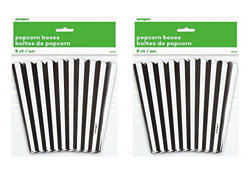 2 Set of 8 Unique Industries Small Black and White Popcorn Boxes bundled by Maven Gifts