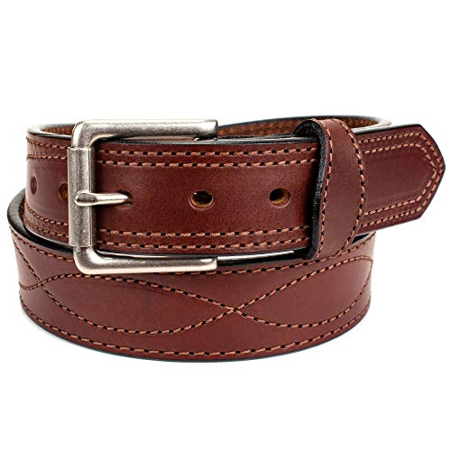 Amish Made Western Leather Tool Belt (50, Dark Brown) - Mens Western Leather Brown Belt