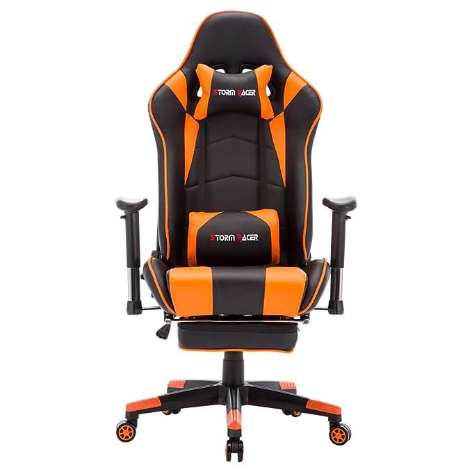Storm Racer ergonómico Gaming Chair Silla de Respaldo Alto Silla de Oficina con reposapiés Ajuste reposacabezas y Apoyo Lumbar Silla de Racing (Orange-s): ...