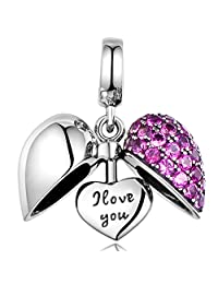 Lovans 925 Sterling Silver I Love You Heart Crystal Charm for Bracelet