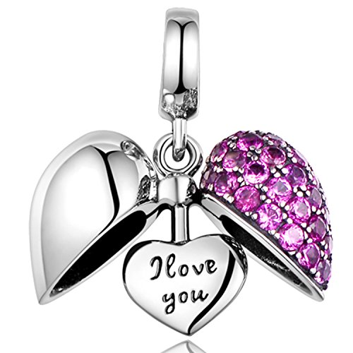 Lovan 925 Sterling Silver Swarovski Crystal Charm Bead Best Gift For Sister, Mom, Father, Brother, Wife, or Friends (I love you charm)