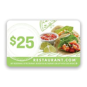 Restaurant Com l Restaurant Com Card I Great Savings at Local Restaurants I Up to 50% Off | Electronic Delivery | No Expiration | 25 Dollar Value