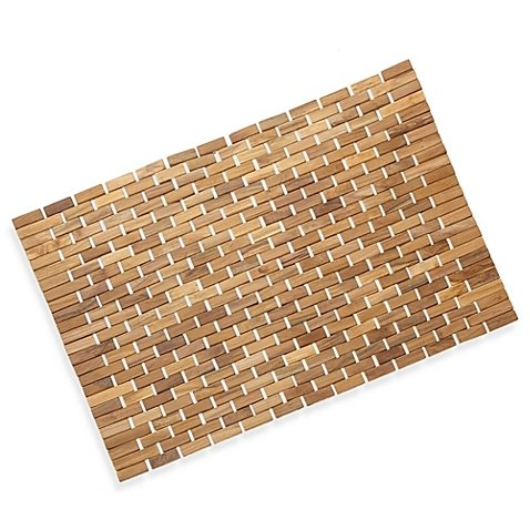 Solid Teak Roll-Up Shower Mat with nonslip surface (Shower Mat Conair)