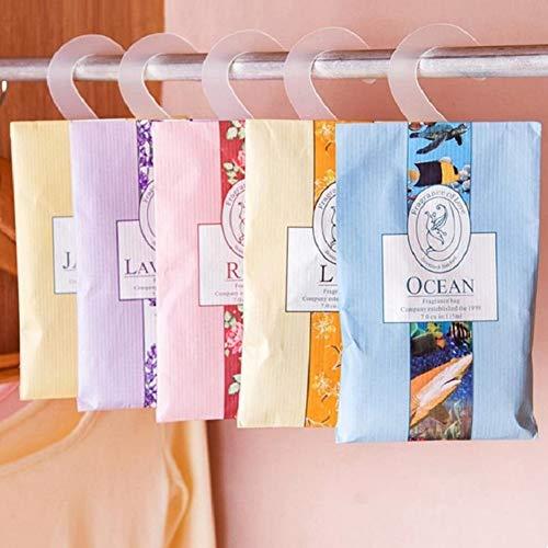 - Holrea 5Pcs Closet Wardrobe Hanging Deodorizing Fragrance Pack Bag Perfume Envelopes Sachets Aromatherapy Sachet Bag for Home, Wardrobe, Drawer, Car, Closets Random