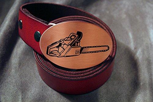 Chain Saw LUMBERJACK Etched Metal Belt Buckle