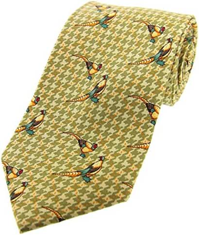 Green Pheasants Tweed Country Silk Tie by David Van Hagen