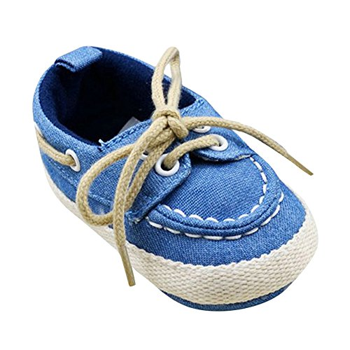 BOBORA Nino Del Bebe Casual Cordones Zapatillas Nino Nina Suave Cuna De Suela Zapatos Zapatos Para Caminar Azul£¨A1)