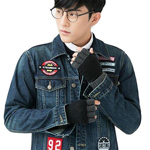 deefecユニセックスニット秋と冬半指グローブ、指なし手袋Plain Basic指なし冬暖かい手袋 B075XKHBML DeeFec-Man-Half Gloves-Black DeeFec-Man-Half Gloves-Black