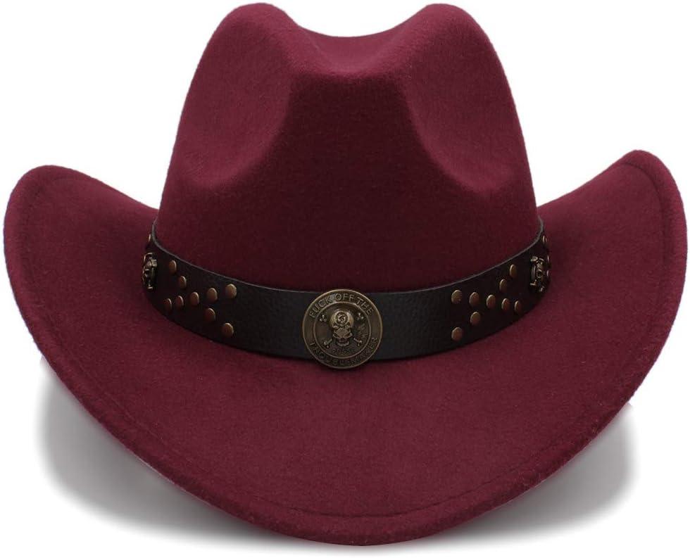 JiuRui Gorros y Sombreros Vintage Cowgirl Cowboys Sombreros Unisex Felt Jazz Cap Western Cowboy Hats Gorras de Viaje para Mujeres Gorras de Hombres Sombreros