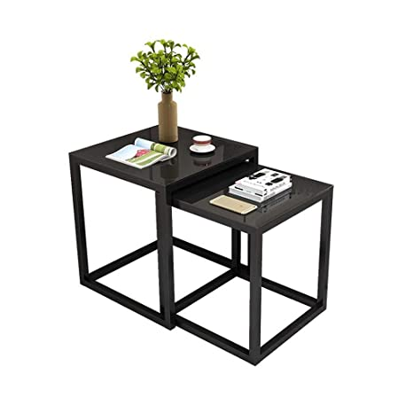 Amazon.com: Nesting Small Coffee Table,Black Tempered Glass ...