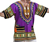 RaanPahMuang Unisex African Bright Dashiki Cotton Shirt Variety Colors, Large, Purple
