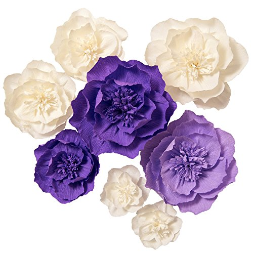 Lings moment Paper Flower Decorations, 8 X Crepe Paper Flower, Giant Paper Flowers, Handcrafted Flowers, Purple White Paper Flowers for Wedding, Nursery Room, Bridal Shower, Photo Booth Backdrop