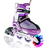 Crazy Skates LED Adjustable Inline Skates | Light Up Wheels | Adjusts To Fit 4 Shoe Sizes | Purple With Mesh Boot | Pro Model 168