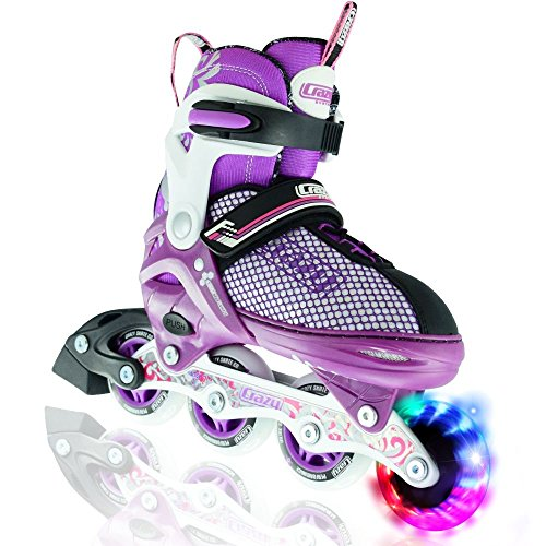 Crazy Skates LED Adjustable Inline Skates | Light Up Wheels | Adjusts To Fit 4 Shoe Sizes | Purple With Mesh Boot | Pro Model 168 - In Line Speed Skating Wheels