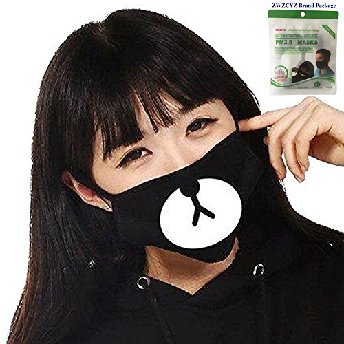 ZWZCYZ EXO Cotton Men and women Boys and Girls Bear Face Mask Good Boy Anti-dust Mouth Mask Cute Muffle Muzzle