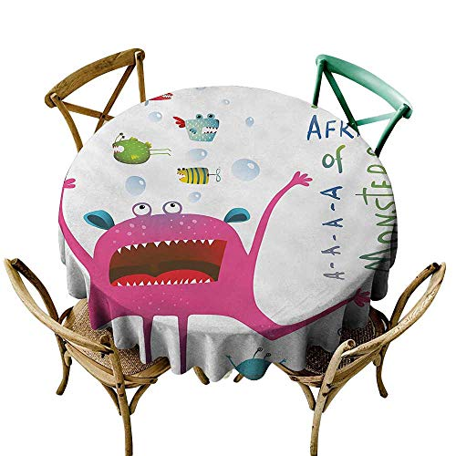 Beast Feast Deer - Zzmdear Dustproof Tablecloth Funny Underwater Beast Creature with Fun Monster Fish Im Afraid of Monsters Quote Kids Table Decoration D35 Pink Green