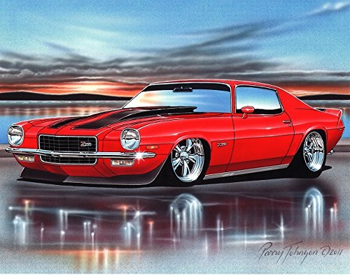 1973 Chevy Camaro Z28 Muscle Car Art Print Red 11x14 Poster by Parry Johnson Art