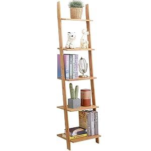 exilot Natural Bamboo Ladder Shelf 5-Tier Wall-Leaning Bookshelf Ladder Bookcase Storage Display Shelves for Living Room, Kitchen, Office, Multi-Functional Plant Flower Stand Shelf.