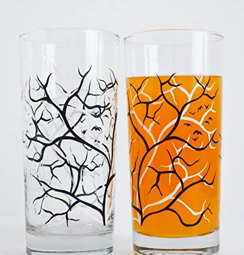 Spooky Black and White Trees with Bats - Set of 2 Everyday Drinking Glasses, Halloween Glasses -