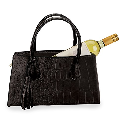 Wild Eye Insulated Wine Carrier Designer Handbag for Women on the Go - Croc Pattern Vegan Leather - Great for Hanging out at the Beach, Picnics or on the Patio (Black Croc)