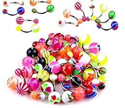 Oasis Plus Wholesale Lot 100pcs 14G Belly Button Rings Navel Barbell Acrylic Balls 316L Surgical Stainless