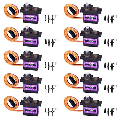 Longruner 10Pcs MG90S Metal Geared Micro Servo Motor 9G for Helicopter Airplane Boat Controls Mini Servo 450 LKY61 (MG996R Metal Gear) (SG90)